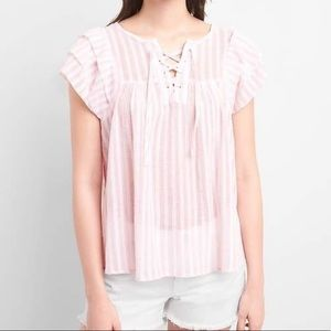 Gap Pink & White Stripped Blouse Short Sleeve Top